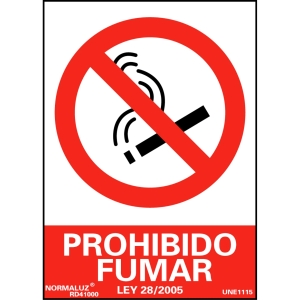 Placa de PROHIBIDO FUMAR NORMALUZ de PVC 297 x 210 mm
