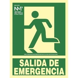 Placa de SALIDA DE EMERGENCIA NORMALUZ de PVC fotoluminiscente 297 x 224 mm