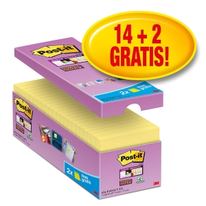 Pack de 14+2 blocks Notas adhesivas Post-it Super Sticky amarillo Dim: 76x76mm