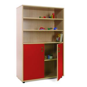 Mueble medio armario y estanterías MOBEDUC puertas rojas