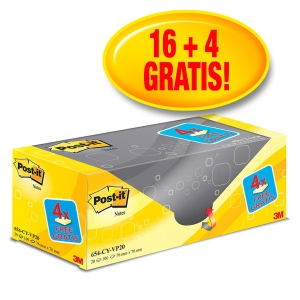 Pack 16+4 blocks 100 notas adhesivas Post-it color amarillo Dimensiones 76x76mm