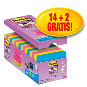 Pack 16 blocks de 90 notas adhesivas en Z Post-it Super Sticky - varios colores