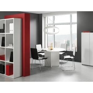 Mesa de reunión circular com pie aspa de madera color blanco/blanco Diam: 120 cm