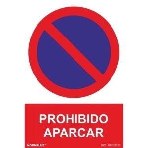Placa de PROHIBIDO APARCAR NORMALUZ de PVC 300 x 210 mm
