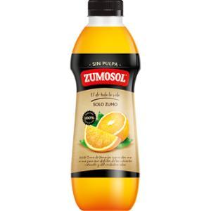 Botella de zumo de naranja exprimida sin pulpa ZUMOSOL de 850ml