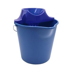 Cubo de plástico con asa y escurridor - 12 L - azul