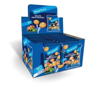 Caja de 14 bolsas de tortitas de maíz BICENTURY receta mediterránea 25g