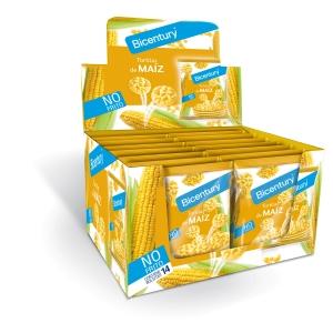 Caja de 14 bolsas de tortitas de maíz BICENTURY natural 25g