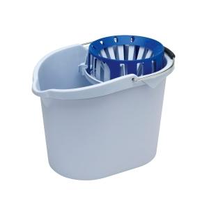 Cubo de plástico con asa y escurridor Vileda - 10 L - blanco y azul