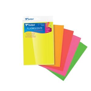 Pack de 5 cartulinas fluorescentes SADIPAL A4 225g/m2 colores surtidos