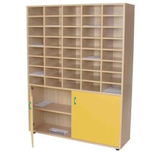 Mueble organizador para profesor con puertas amarillas MOBEDUC