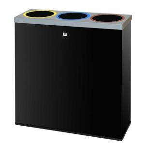 Papelera reciclaje 3 cubetas P77 CILINDRO Dimensiones: 66x22x70cm