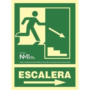 Placa de ESCALERA A LA DERECHA NORMALUZ de PVC fotoluminiscente 224 x 300 mm