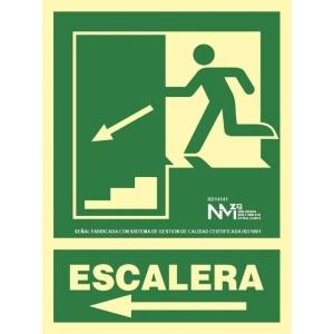 Placa de ESCALERA A LA IZQUIERDA NORMALUZ de PVC fotoluminiscente 224 x 300 mm
