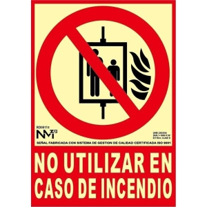Placa de NO UTILIZAR EN CASO DE INCENDIO  de PVC 300 x 210 mm