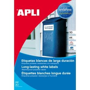 Caja de 960 etiquetas de poliéster APLI 12112 cantos rectos blancas