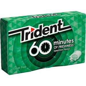Paquete de 10 chicles en grageas TRIDENT 60 Minutes sin azúcar sabor hierbabuena