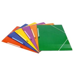 Carpeta 3 solapas folio cartón plastificado etiqueta lomera azul