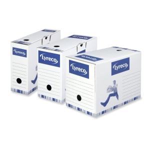 Caja archivo definitivo  blanco-azul  lomo 100mm  formato folio LYRECO