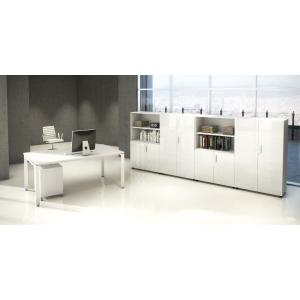 Mesa Ocean Luxe color blanco pies metalicos dimensiones 1600x800x750 mm