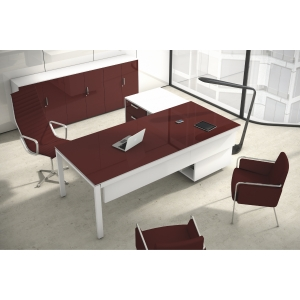 Conjunto Ocean Luxe mesa + ala burdeos pies metalicos 210x160x75