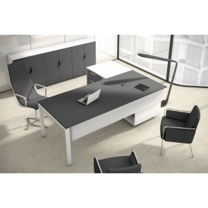 Conjunto Ocean Luxe mesa + ala antracita mate pies metalicos 210x160x75