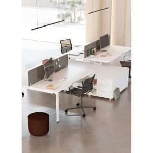 Conjunto Ocean Luxe mesa + ala bilaminada blanco pies metalicos 210x160x75