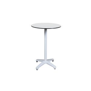 Mesa alta de comedor fabricada en aluminio pulido color blanco 600x600x1100mm