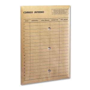 Caja de 100 bolsas de correo interno de papel kraft 260 x 360 mm