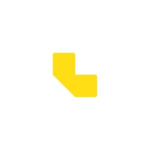 Pack de 10 etiquetas adhesivas para suelo TARIFOLD con forma L color amarillo