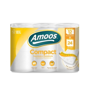 Pack de 12 rollos papel higiénico doméstico AMOOS 2 capas 35m