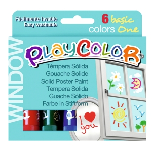 Pack de 6 témperas sólidas PLAYCOLOR one window colores surtidos
