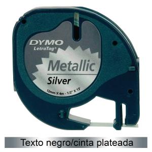 Cinta autoadhesiva DYMO LetraTag de plástico con letra negra/fondo plateado