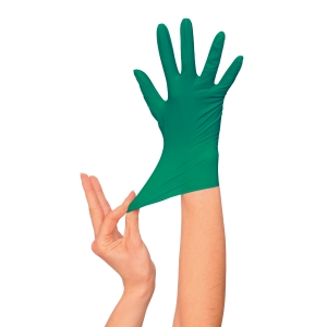 Caja 100 guantes desechables RUBBEREX Nitrilo Premium 407 sin polvo. Talla 7/S