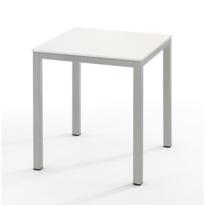 Mesa de break con medidas 70x70mm plata blanco