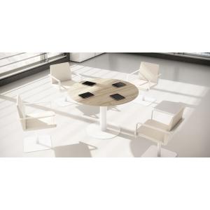 Mesa para reunión en metal, colores haya aluminio