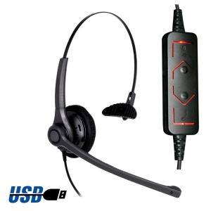 Auricular ergonómico y resistente con conector USB DH037 - USB FREEMATE