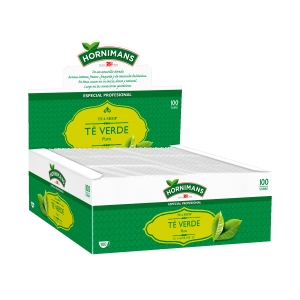 Caja de 100 bolsitas de infusión de té verde. De carácter mentolado y aromático