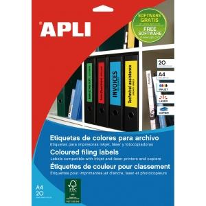 Pack de 80 etiquetas autoadhesivas en formato A4 en color verde APLI