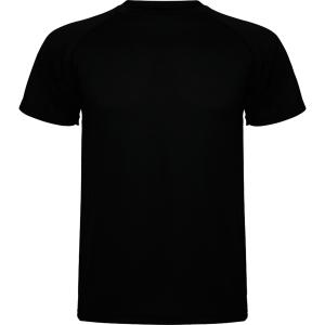 Camiseta técnica de manga corta ROLY Montecarlo de 140 g/m2. Negro. Talla XL