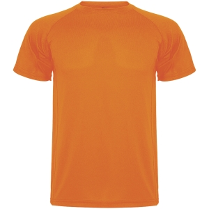 Camiseta técnica de manga corta ROLY Montecarlo de 140 g/m2. Naranja. Talla XL