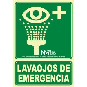 Placa   Lavaojos de emergencia   NORMALUZ de PVC fotoluminiscente 22,4 x 300 mm