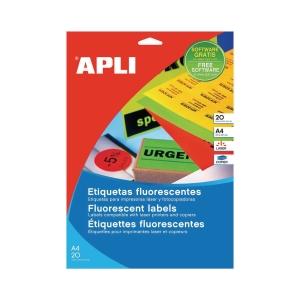 20 etiquetas impresión láser APLI 2879 naranja fluorescente