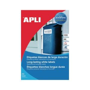 Caja de 80 etiquetas de poliéster APLI 1227 cantos rectos blancas