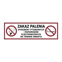 Znaki ochrony przeciwpożarowej  Zakaz Palenia Tytoniu , 300 x 100 mm