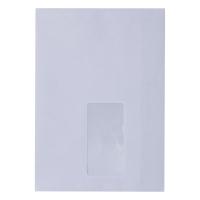 Koperty samoklejące C5, 162x229 mm, białe, okno prawe, 50 sztuk