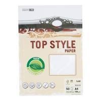 Papier ozdobny TOP STYLE Linen, kolor biały, 100 g/m?, 50 arkuszy