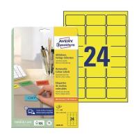 Etykiety kolorowe AVERY ZWECKFORM 63,5x33,9 mm, żółte, w opakowaniu 480 etykiet