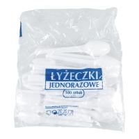 Łyżeczki plastikowe jednorazowe, małe 12,5cm, opakowanie 100 sztuk