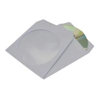 Koperty na CD okrągłe okno samoklejące, białe, 50 sztuk